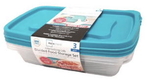 Never Lost 3-Piece Divided Plastic Food Storage Set, 4 Pack (Blue)