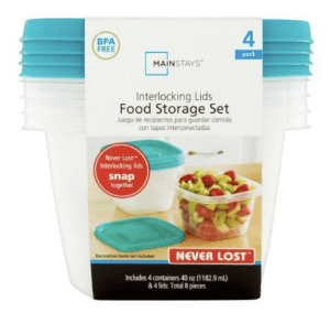 Never Lost 5-Cup Square Food Storage Container, 4 Pack