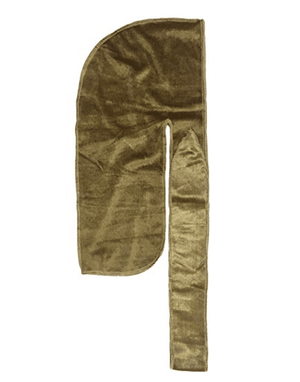 "Premium Velvet Durag ""Coconut Oil Treated"" w/Long Strap (Gold)"