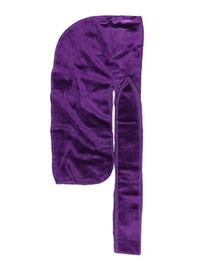 "Premium Velvet Durag ""Coconut Oil Treated"" w/Long Strap (Purple)"