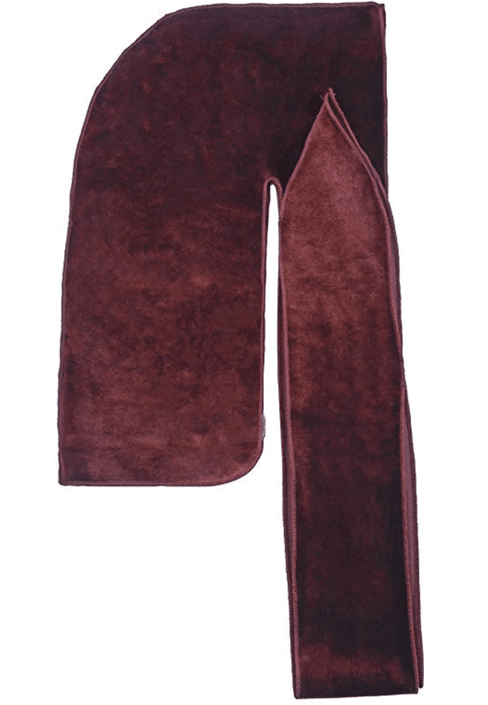 "Premium Velvet Durag ""Coconut Oil Treated"" w/Long Strap (Burgundy)"