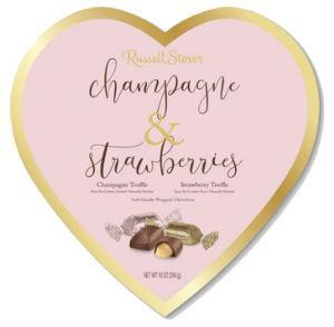 Valentine Champagne & Strawberries Truffles Heart Gift Box 10 oz.