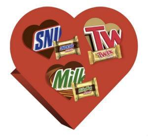 Snickers, Twix and Milky Way Valentine's Day Heart - 7.7oz