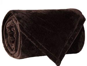 Flannel Fleece Fire Retardant Blanket (Brown)