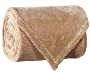 Flannel Fleece Fire Retardant Blanket (Camel)