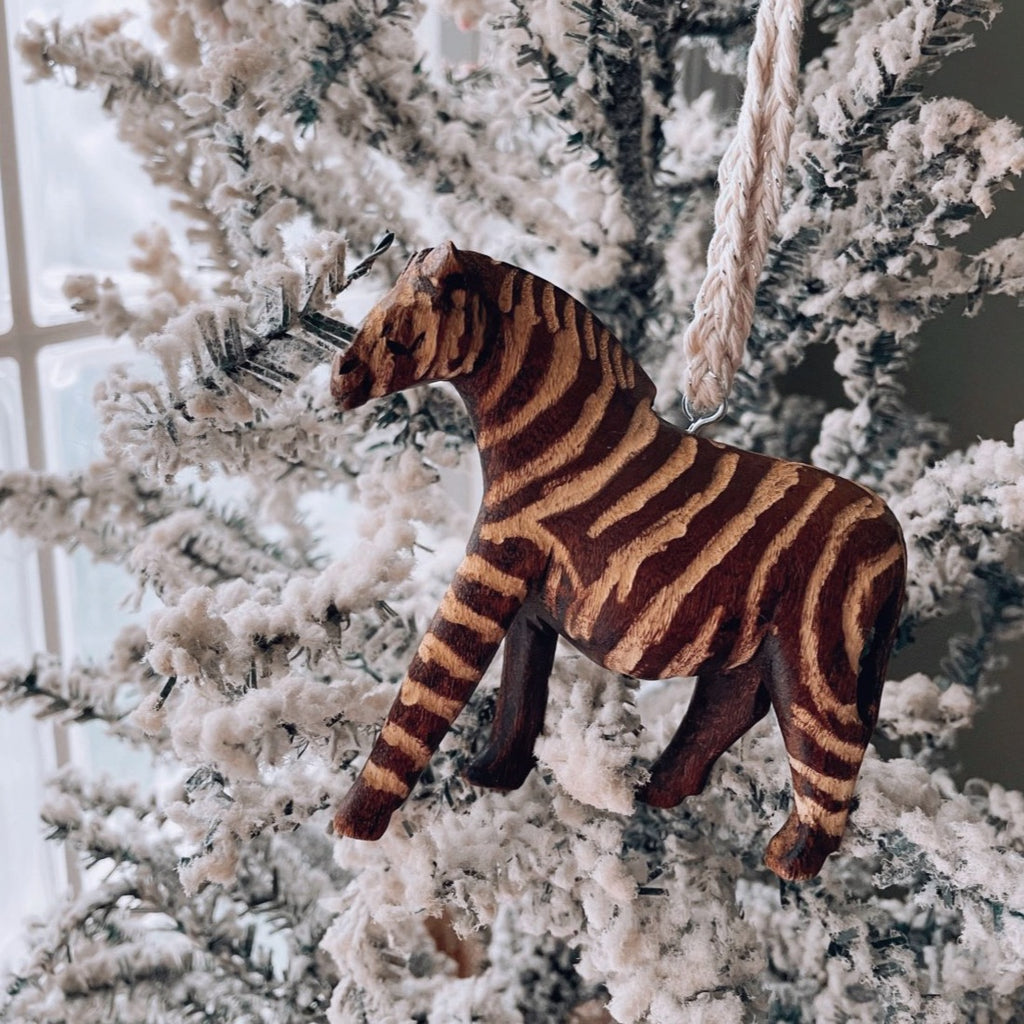 Hand carved Zebra ornament from Zambia