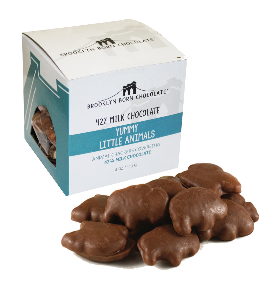 Brooklyn Born Chocolate - Yummy Little Animals 4 oz - Animal Crackers Covered in 42% Milk Chocolate