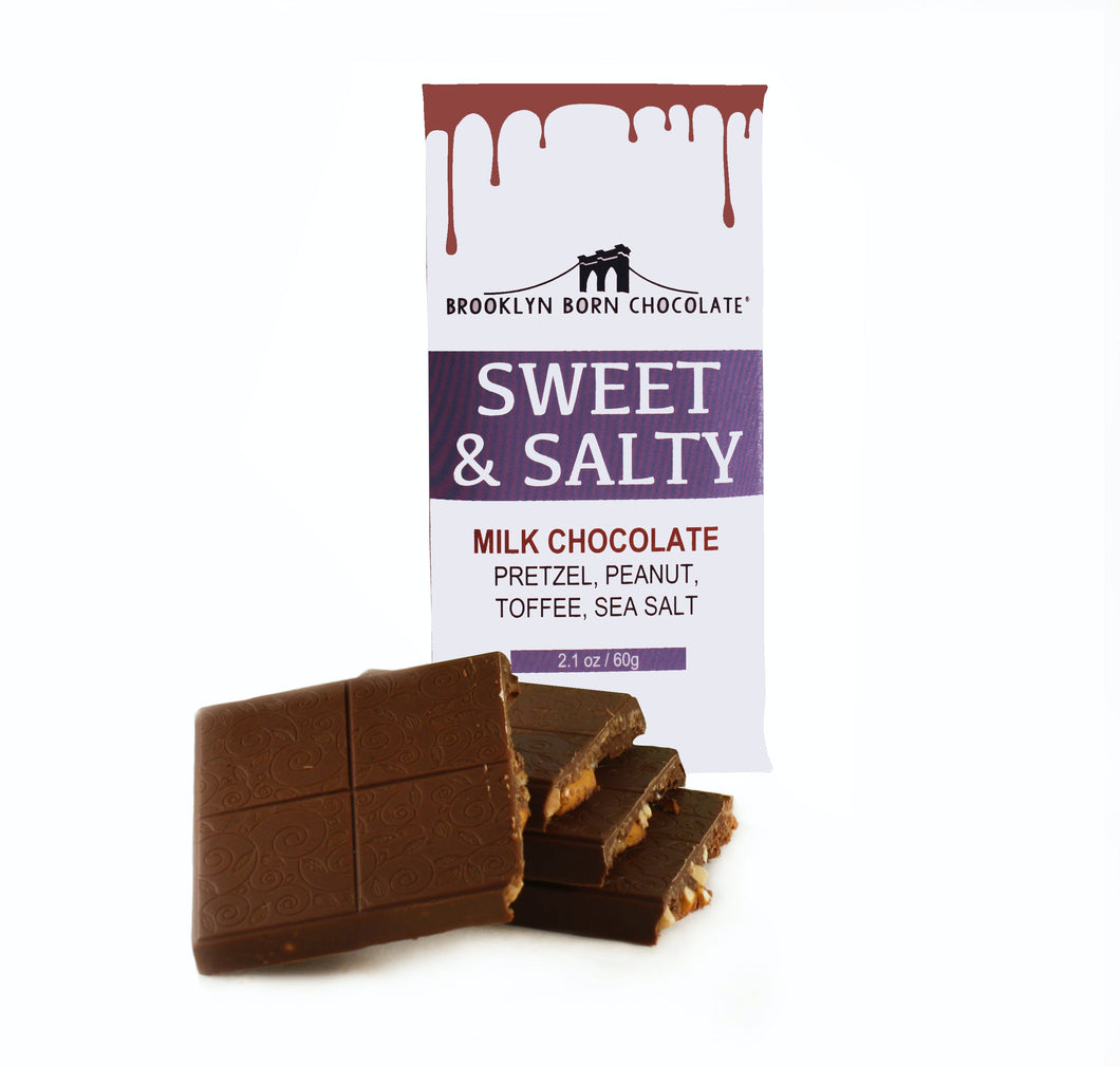 Brooklyn Born Chocolate - Sweet & Salty Milk Chocolate Bar - 2.1 oz.