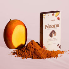Load image into Gallery viewer, Candid Noons Whole Cacao Crunch Bites - Golden Berry, Turmeric & Mango - 1.13 oz.