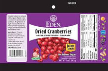 Load image into Gallery viewer, Eden Foods - Organic Dried Cranberries - 1 oz.