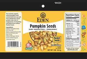 Eden - Dry Roasted Pumpkin Seeds - Pocket Snacks