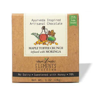 Elements Truffles Ayurveda Inspired Artisanal Chocolate - Maple Toffee Crunch infused with Moringa - 1 oz.