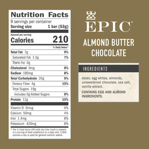 EPIC Performance Bar - Almond Butter Dark Chocolate - 12 G. Protein