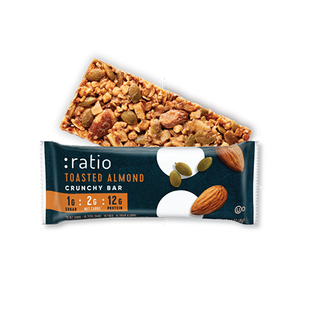 :ratio Toasted Almond Crunchy Bar - 1.4 oz
