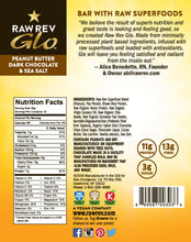Load image into Gallery viewer, Raw Rev Glo Raw Superfoods High Protein Bar - Peanut Butter, Dark Chocolate & Sea Salt - 1.6 oz.
