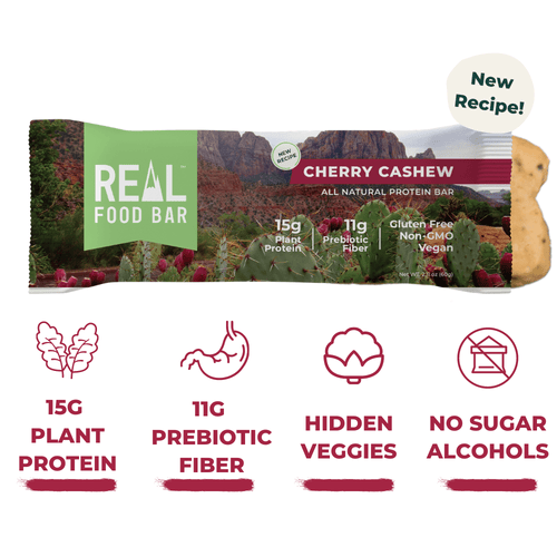 Real Food Bar - Cherry Cashew All Natural Protein Bar - 2.12 oz