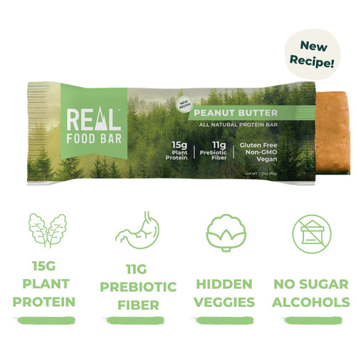 Real Food Bar - Peanut Butter All Natural Protein Bar - 2.12 oz