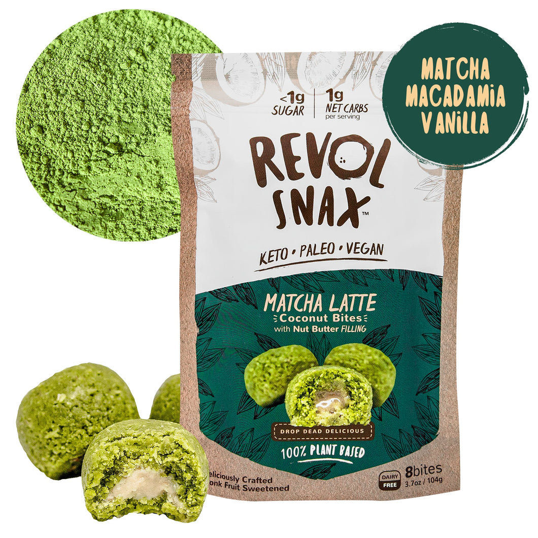 Revol Snax - Matcha Latte Coconut Bites with Vanilla Cream Filling - 3.7 oz.