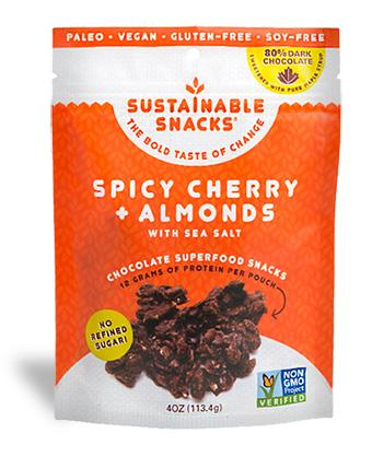 Sustainable Snacks - Spicy Cherry Almonds with Sea Salt - 4 oz.