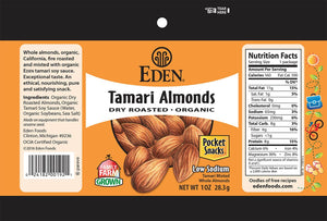 Eden - Tamari Dry Roasted Almonds - Pocket Snacks 1 oz.