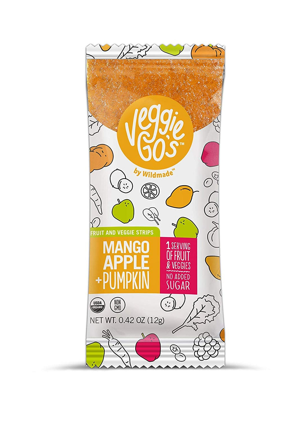 Wild Made Snacks - Veggie Go's Fruit & Veggie Strips - Mango Apple & Pumpkin - .42 oz.