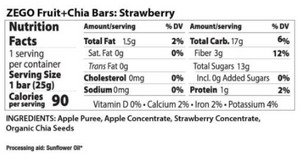 Zego Fruit & Chia Bar - Strawberry Chia .88 oz