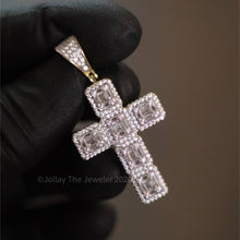Load image into Gallery viewer, 925 Silver Cross (Baguettes) (Yellow Gold) - Jollay The Jeweler
