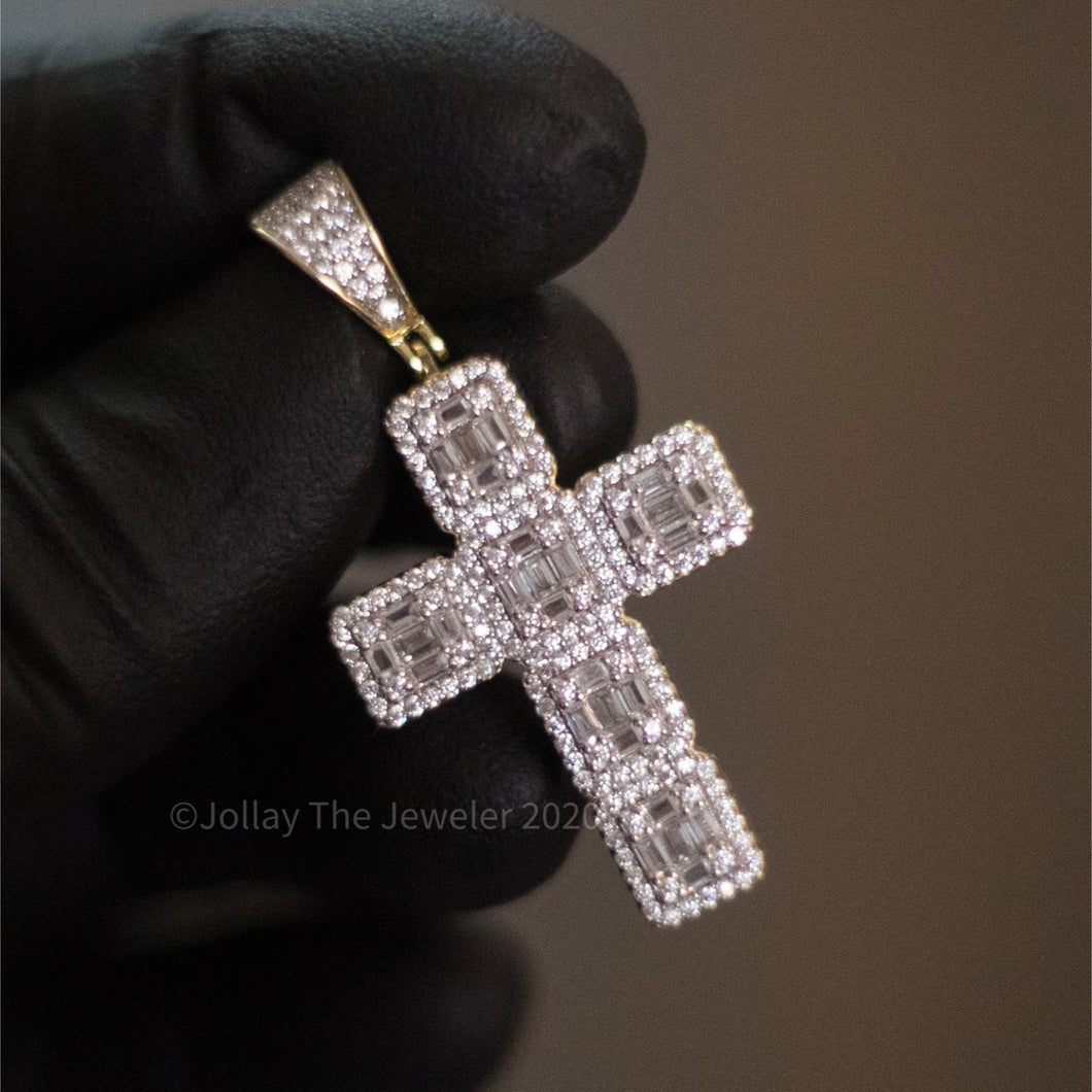 925 Silver Cross (Baguettes) (Yellow Gold) - Jollay The Jeweler