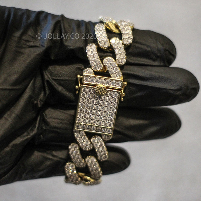 Iced Cuban Bracelet (Prong Set - Yellow Gold) - JOLLAY.CO
