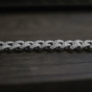 Iced Cuban Bracelet - White Gold - Prong Set - JOLLAY.CO