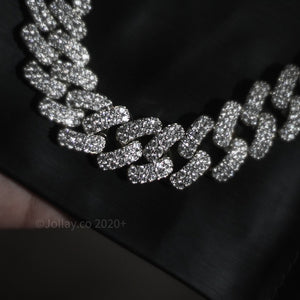 Iced Cuban Chain - White Gold - Prong Set - JOLLAY.CO