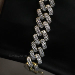 Iced Cuban Chain - Yellow Gold - Prong Set - JOLLAY.CO