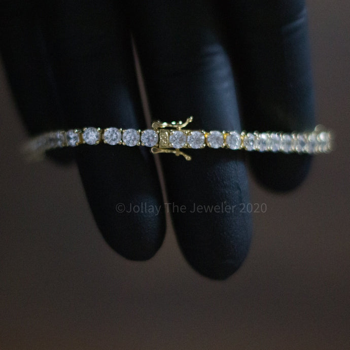 Iced Tennis Bracelet (Yellow Gold) - JOLLAY.CO