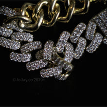 Load image into Gallery viewer, Iced Cuban Chain - Yellow Gold - Prong Set