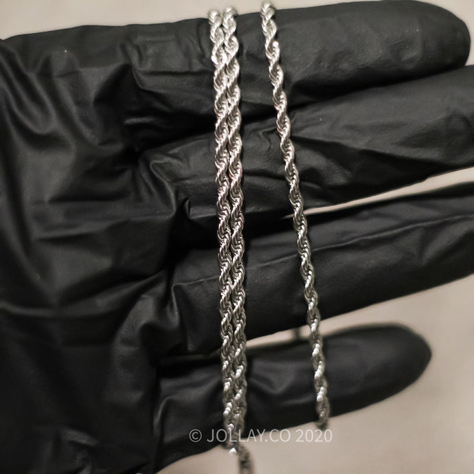 White Gold Rope Chains 3mm - JOLLAY.CO