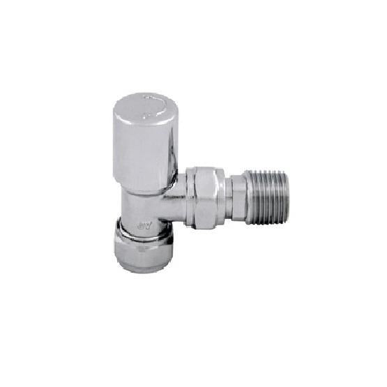 Abacus Essentials Standard Angled Radiator Valve With Wheel head - Polished Stainless Steel