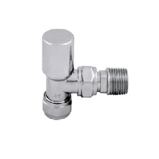 Abacus Essentials Standard Angled Radiator Valve With Lock shield - Polished Stainless Steel