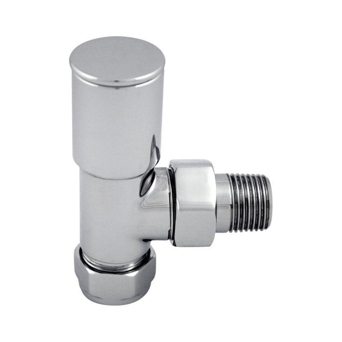 Abacus Essentials Arc Angled Radiator Valve With Wheel head - Polished Stainless Steel