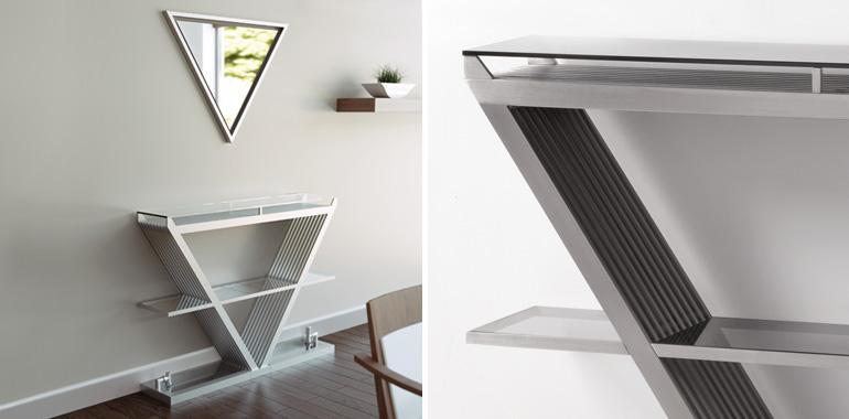 Aeon Elixir Designer Stainless Steel Radiator and Glass Shelf - Brushed Mat