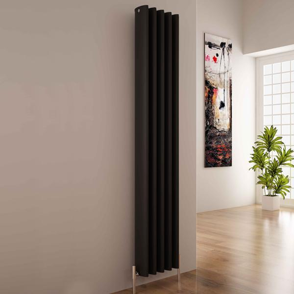 Carisa Oval Vertical Designer Radiator - Textured Black