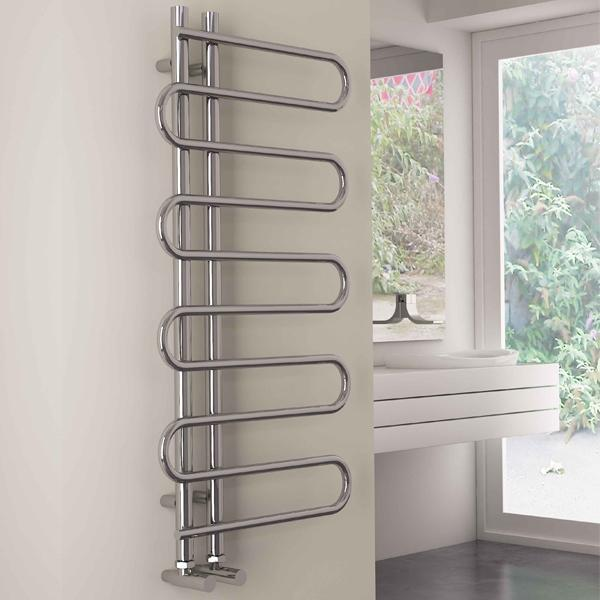 Carisa Rope Vertical Designer Towel Rail - 1000mm x 500mm - Chrome