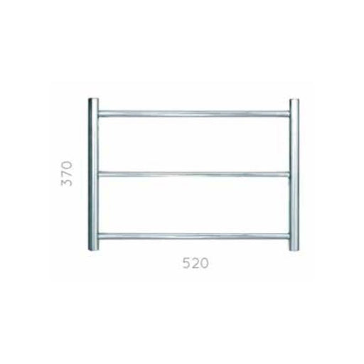 JIS Cinder  Heated Towel Rail - 370 x 520mm - Stainless Steel