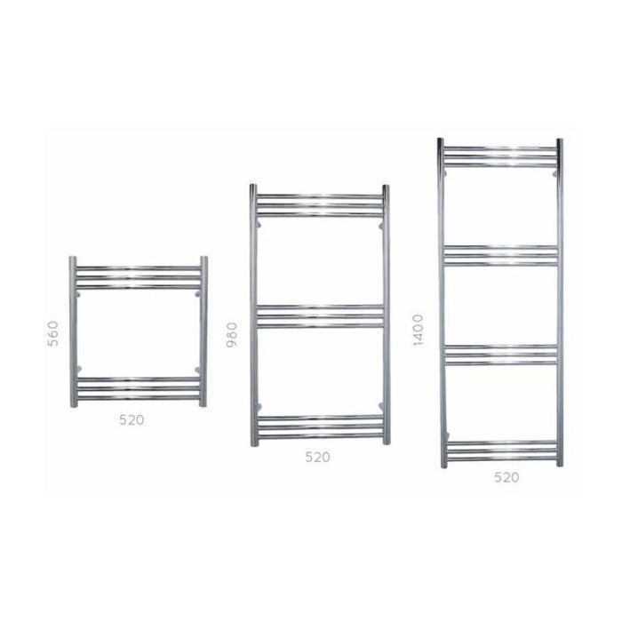 JIS Lewes Heated Towel Rail - Stainless Steel