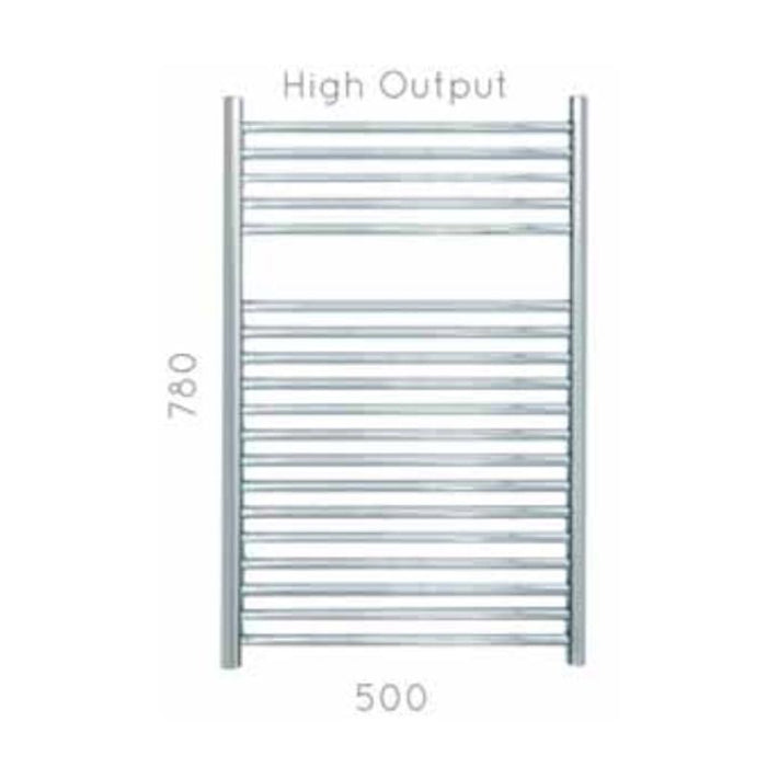 JIS Coombe Heated Towel Rail - 780 x 500mm - Stainless Steel