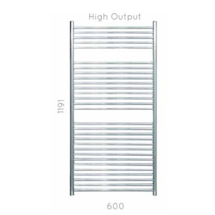 JIS Ansty 600 Heated Towel Rail - 1190 x 600mm - Stainless Steel