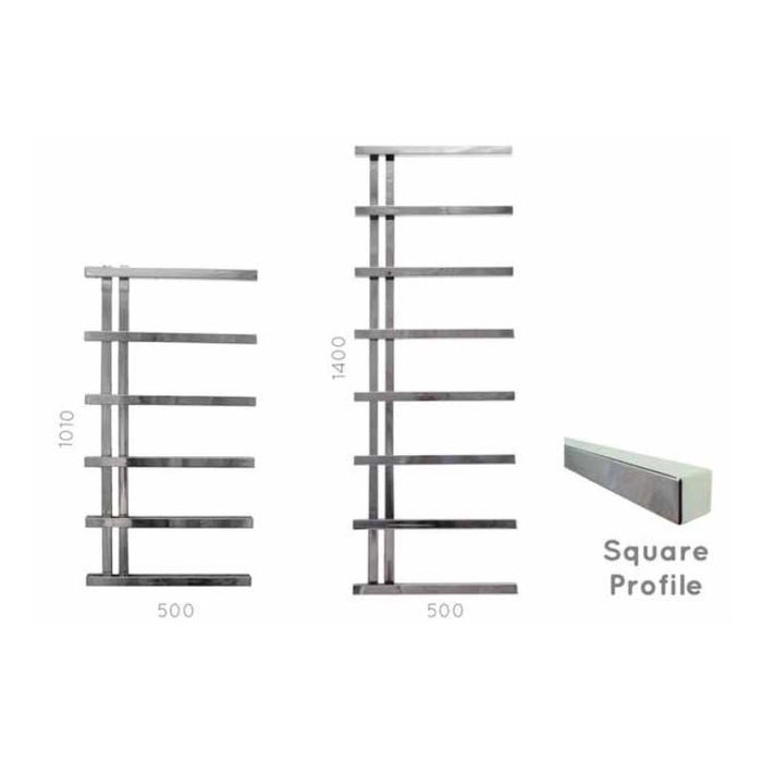 JIS  Hickstead  Square Profile Towel Rail - Stainless Steel