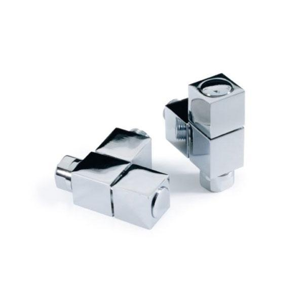 Kartell Square Angled Radiator Valve - Pair Chrome