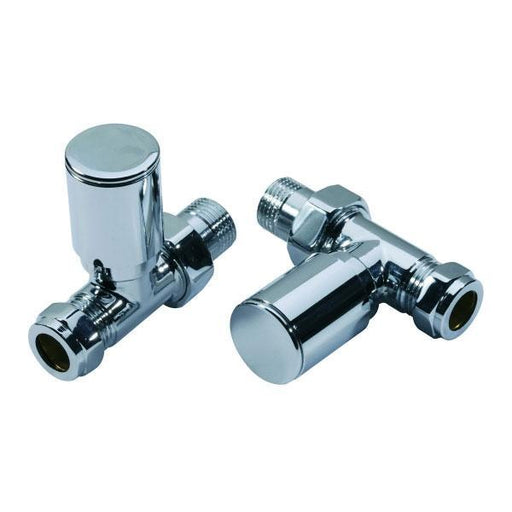 Kartell Modern Straight Radiator Valve - Pair Chrome
