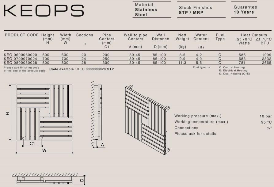 Carisa Keops Stainless Steel Vertical Radiator