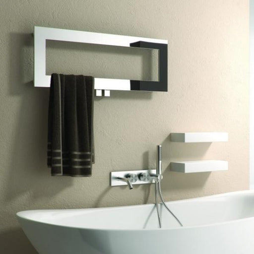 Reina Bivano Horizontal Designer Heated Towel Rail - 300mm x 800mm - Polished